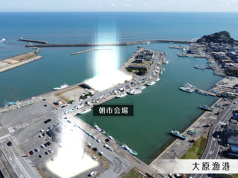大原漁港港の朝市会場写真